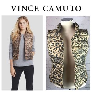 🐾Vince Camuto Leopard Front Snap Puffer Vest